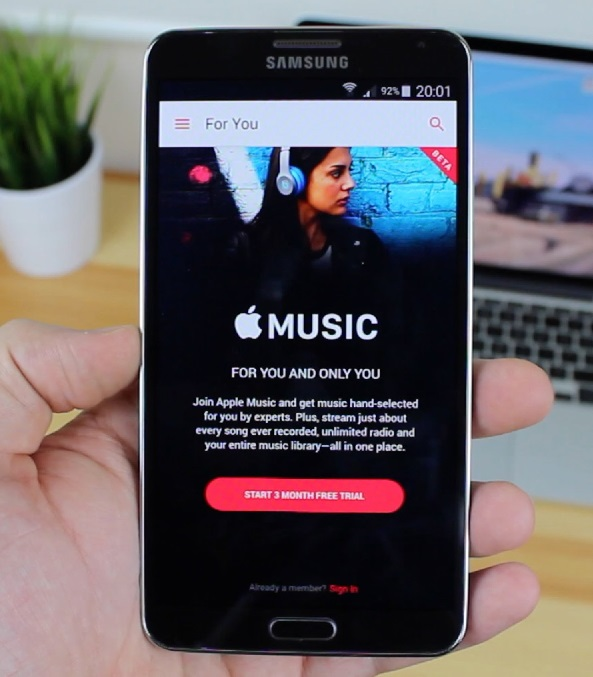 Android app with apple music